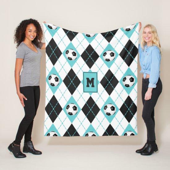 sporty turquoise black white soccer argyle pattern fleece blanket
