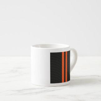 Sporty Vibrant Orange Stripes Carbon Fiber Style Espresso Cup