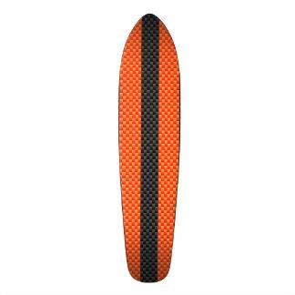 Sporty Vibrant Orange Stripes Carbon Fiber Style Skateboard