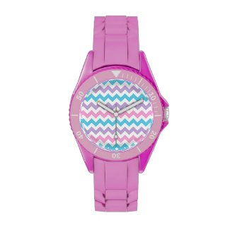 Sporty Wristwatch: Pink, Turquoise, Lilac Chevrons