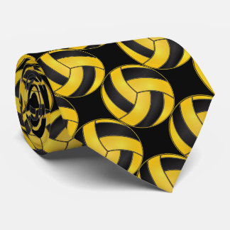 Sporty Yellow and Black Volleyball Neck Tie
