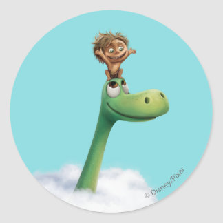 Spot And Arlo Head In Clouds Classic Round Sticker