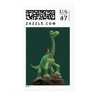 Spot And Arlo On Rock Postage Stamp