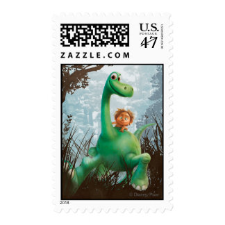 Spot And Arlo Walking Through Forest Stamp