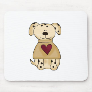 Spot Dog with Heart Mouse Pad