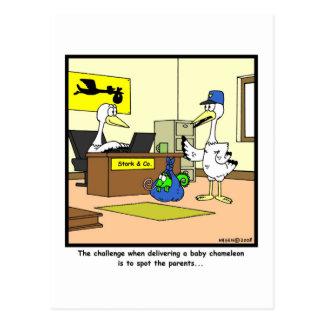 Spot the parents: Stork & Chameleon cartoon Postcard