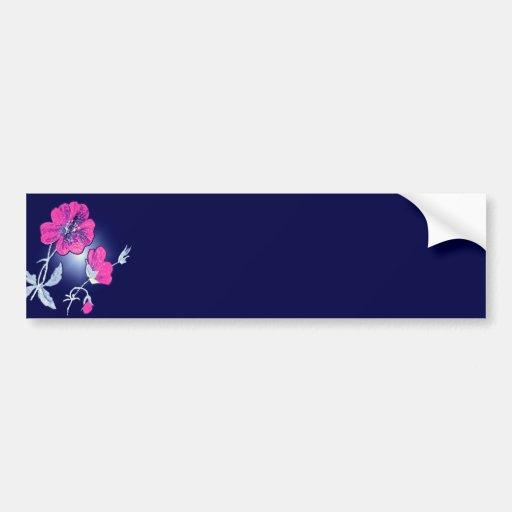 Spotlight on Pink Flower,Blue Back Graphic Design Bumper Sticker
