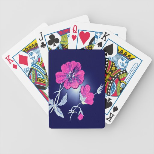 Spotlight on Pink Flower,Blue Back Graphic Design Bicycle Playing Cards