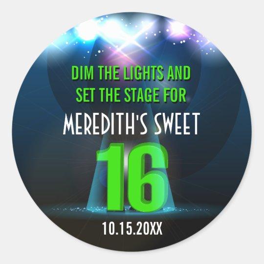 Spotlight Star Green Sweet 16 Classic Round Sticker