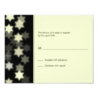 "Spotlight Star of David Bar/Bat Mitzvah Reply Card 4.25"" X 5.5"" Invitation Card"