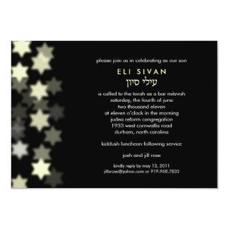 Spotlight Star of David Bar Mitzvah 5x7 Paper Invitation Card
