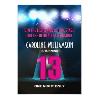 Spotlight Star Pink 13th Birthday Card