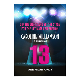 Spotlight Star Pink 13th Birthday 5x7 Paper Invitation Card