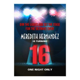 Spotlight Star Red Sweet 16 Invitations