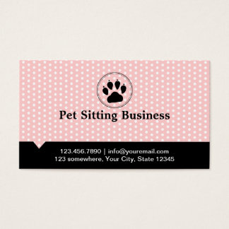 Spots Pet Paw Pink Pet Sitting Business Card