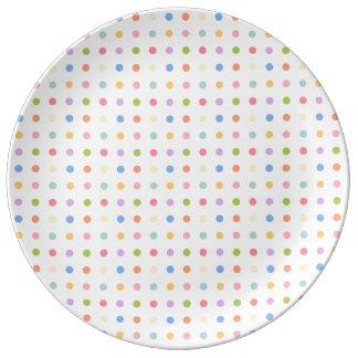 spots pie, white bottom, plate
