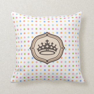 spots pink pie, and monograma with crown throw pillow