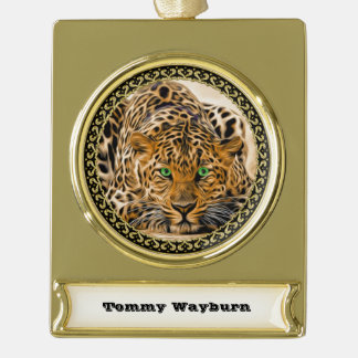 Spotted Bright green eye leopard looking at you Gold Plated Banner Ornament