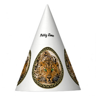 Spotted Bright green eye leopard looking at you Party Hat