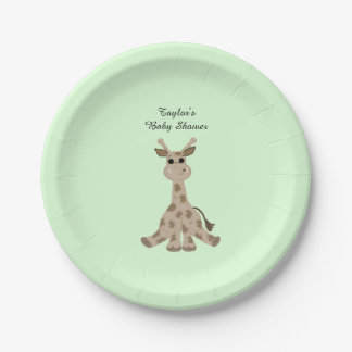 Spotted Brown Giraffe Baby Shower Paper Plate