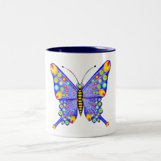 Spotted Butterfly 1 Two-Tone Coffee Mug