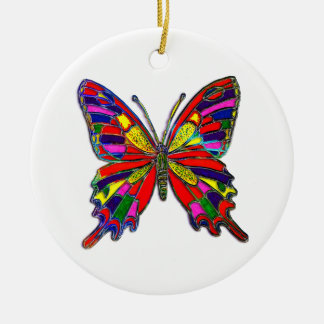 Spotted Butterfly Double-Sided Ceramic Round Christmas Ornament