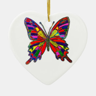 Spotted Butterfly Double-Sided Heart Ceramic Christmas Ornament