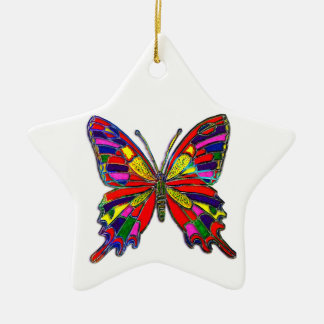 Spotted Butterfly Double-Sided Star Ceramic Christmas Ornament