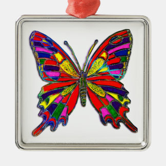 Spotted Butterfly Square Metal Christmas Ornament