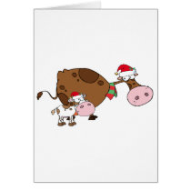Spotted Calf By A Mom Dairy Cow With Santa's Hats Card