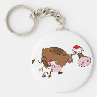 Spotted Calf By A Mom Dairy Cow With Santa's Hats Keychain