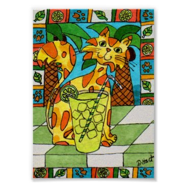 Beach Themed Spotted Cat with Glass of Limeade Mini Folk Art Poster