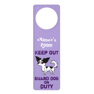 Spotted Chihuahua Guard Dog on Duty Door Hanger