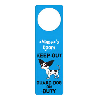 Spotted Chihuahua Guard Dog on Duty Door Knob Hanger
