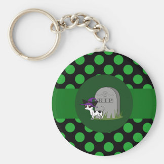 Spotted Chihuahua with Grave Stone & Green Dots Basic Round Button Keychain
