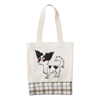 Spotted Chihuahua with Long Hair Zazzle HEART Tote Bag