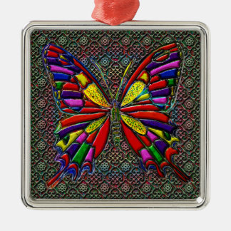 Spotted Colorful Butterfly Square Metal Christmas Ornament