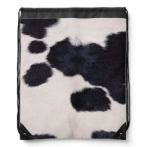 SPOTTED COW HIDE DRAWSTRING BAG