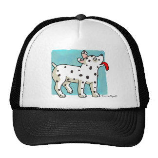 Spotted Dog on Blue Square - Hat