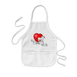 Spotted Dog with Banner Heart - Child s Apron