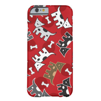Spotted Doggies & Bones Puppy Cute Fun Red Casing Barely There iPhone 6 Case