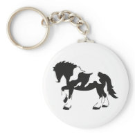 Spotted Draft Horse Key Chain