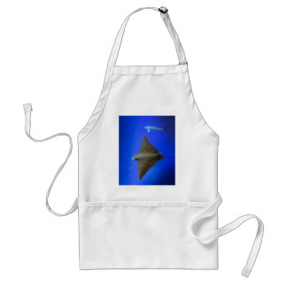 Spotted eagle ray & reef shark underwater adult apron