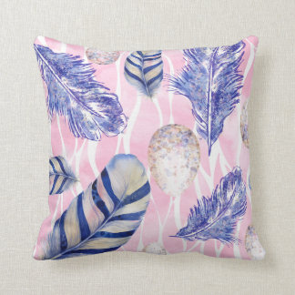 Spotted Eggs and feathers woodland throw pillow