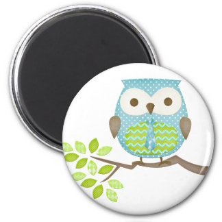 Spotted Executive Owl in Tree 2 Inch Round Magnet