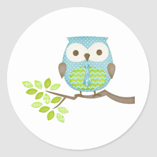 Spotted Executive Owl in Tree Classic Round Sticker