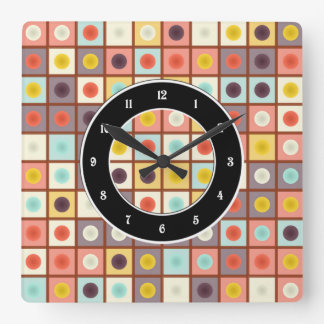 Spotted geometric pattern square wall clock