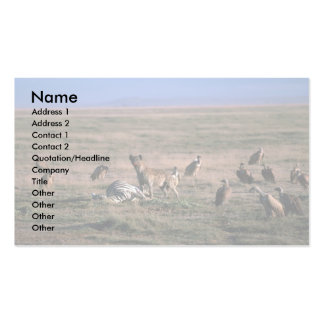 Spotted Hyaena - On Zebra Kill, With Vultures Double-Sided Standard Business Cards (Pack Of 100)