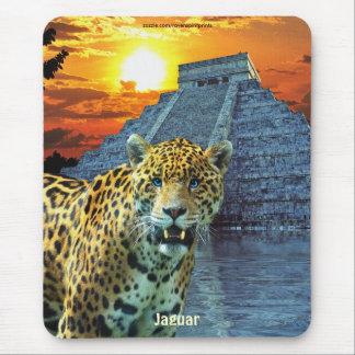 Spotted Jaguar & Chichen Itza Temple Art Mousepad