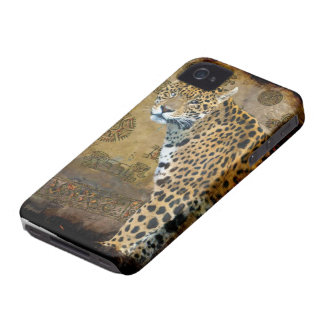 Spotted Jaguar & Mayan Temple iPhone 4 Case